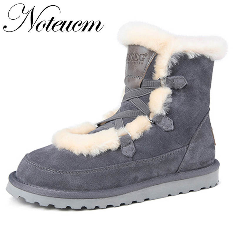 Natural 100% Sheepskin Genuine Leather Female Winter Furry Australia Shoe Ankle Boot With wool Shearing Fur Snow Boot Women girl