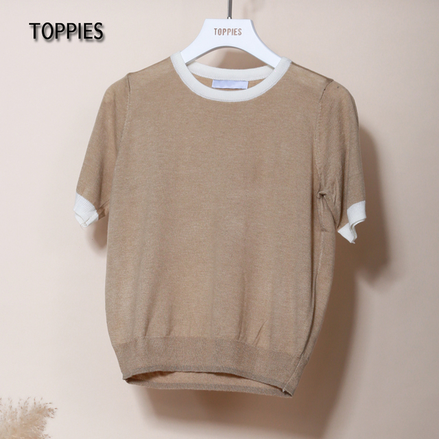 Toppies Summer Knitted T-shirts Women Short Sleeve Tops Tee Contrast Color Slim T-shirts O-neck Clothes 2