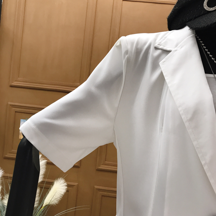 white suit blazer Korean summer new loose and thin suit jacket solid thin short-sleeved suit jacket women 2020 Autumn Fashion
