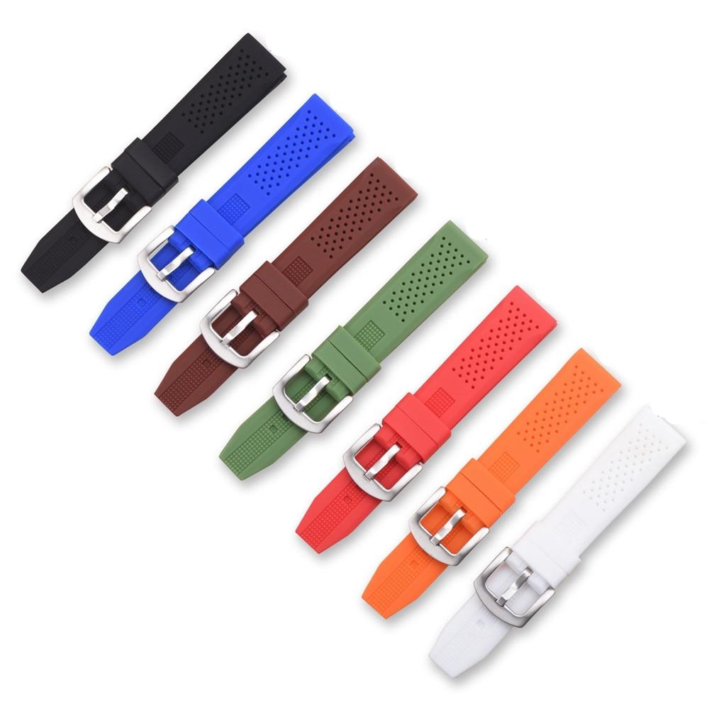 BUMVOR Universal Strap Silicone Strap Waterproof 16mm 18mm 20mm 22mm 24mm Watch Belt Men And Women Sports  Replacement Strap