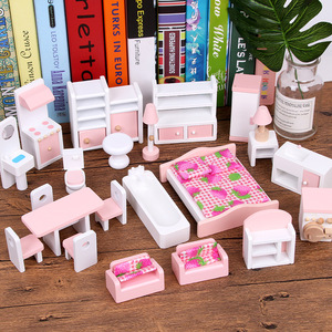 Image 5 - Miniature Furniture Dolls House Wooden Dollhouse Furniture Sets Educational Pretend Play Toys Children Kids Girls Toy Gifts