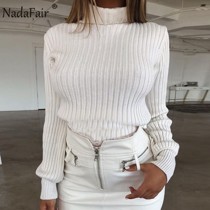 Nadafair Women Solid Pullover Casual Knitted Black Yellow White Winter Turtleneck Sweater Woman