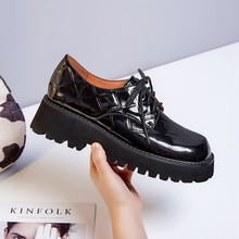 British Style Student Flat Platform Casual Shoes Spring Autumn Women Genuine Leather Cross-tied 5cm Height Flats Oxfords Female
