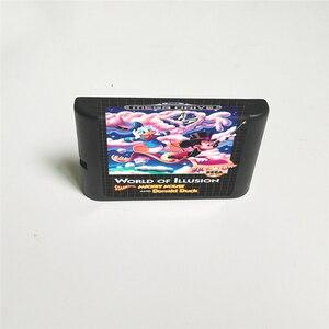 Image 2 - Welt von Illusion darsteller Mickey Maus und Donald Duck EUR Abdeckung Mit Box 16 Bit MD Spiel Karte für megadrive Genesis Konsole