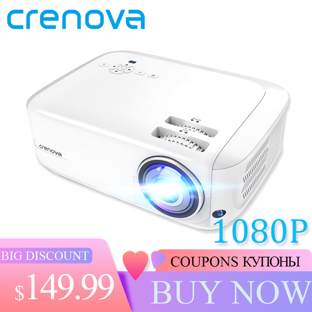 CRENOVA Newest Full HD 1080P Android Projector 6000 Lumens Android 7.1.2 OS Video Projector Support 4K Dolby 2G 16G Beamer