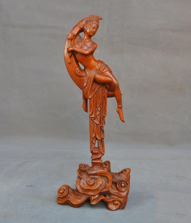 Свадебные украшения китайский Самшит дерева ручной работы Мифы легенды Лотос Мун Чанг е статуэтку богини