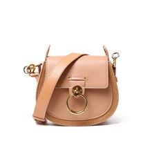 цена на Female Handbags Saddle Style Genuine Leather Women Shoulder Bag Metal Ring Designer Ladies Crossbody Bag 2019
