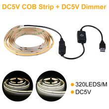 DC5V 320Chips/M COB LED Strip IP20  With USB Touch Dimmer Switch For TV Background Indoor Lighting