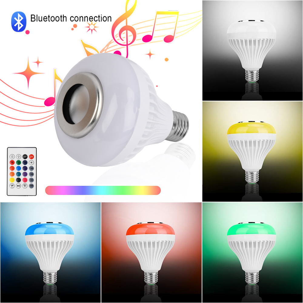 LED E27  Bulb Light RGB Smart Bluetooth Speaker 12W Music Player Dimmable Wireless Lamp High Brightness LED Bombilla Spotlight