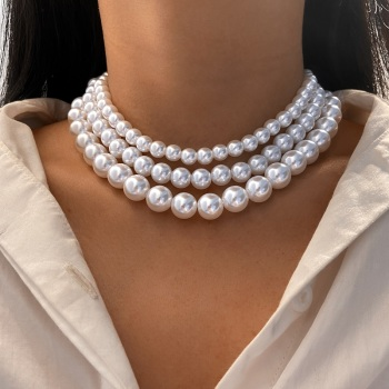 Women Elegant Vintage White Necklace Jewelry Pearl Jewelry