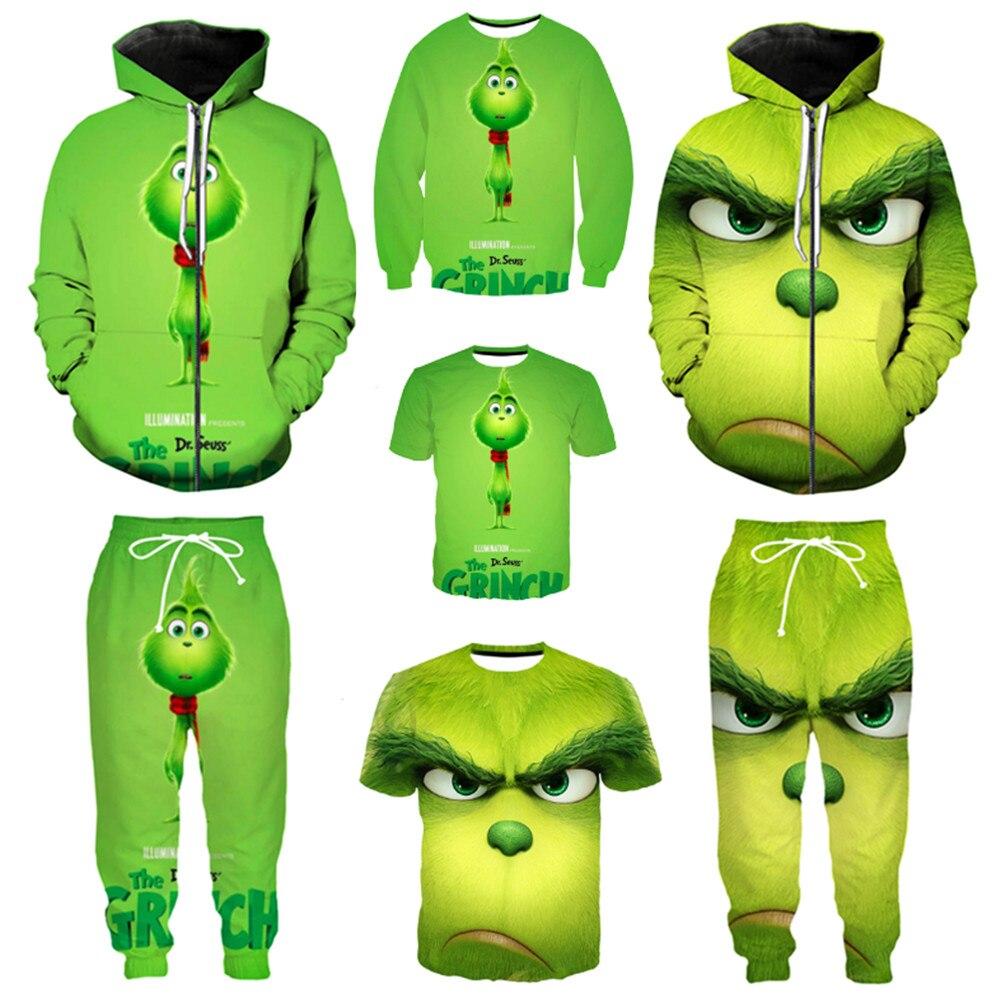 The Grinch Cartoon Cosplay Kids Boys Girls Funny Hoodie Sweatshirt Jumper Tops