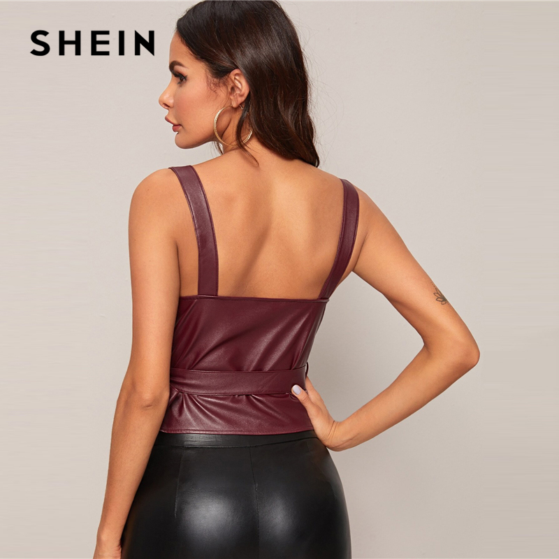 SHEIN Burgundy Surplice Wrap Knot Side PU Leather Sexy Tank Women Tops Spring Sleeveless Solid Buttoned Ladies Glamorous Vests 2