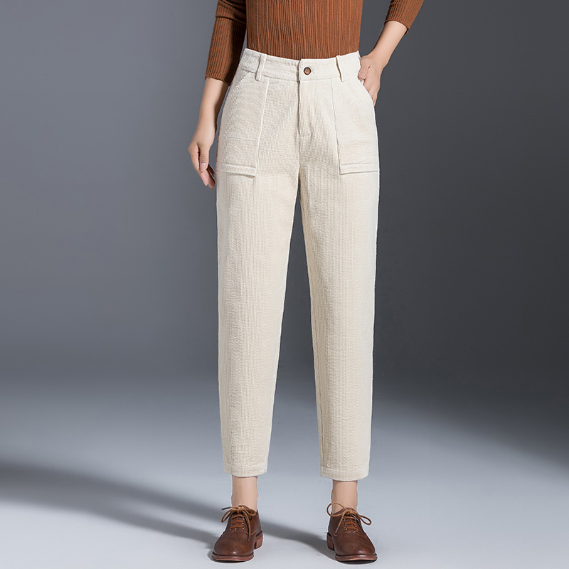 2019 Autumn New Style WOMEN'S Dress Korean-style   Capri   Harem   Pants   Women's Corduroy Casual   Pants   Manufacturers 19392
