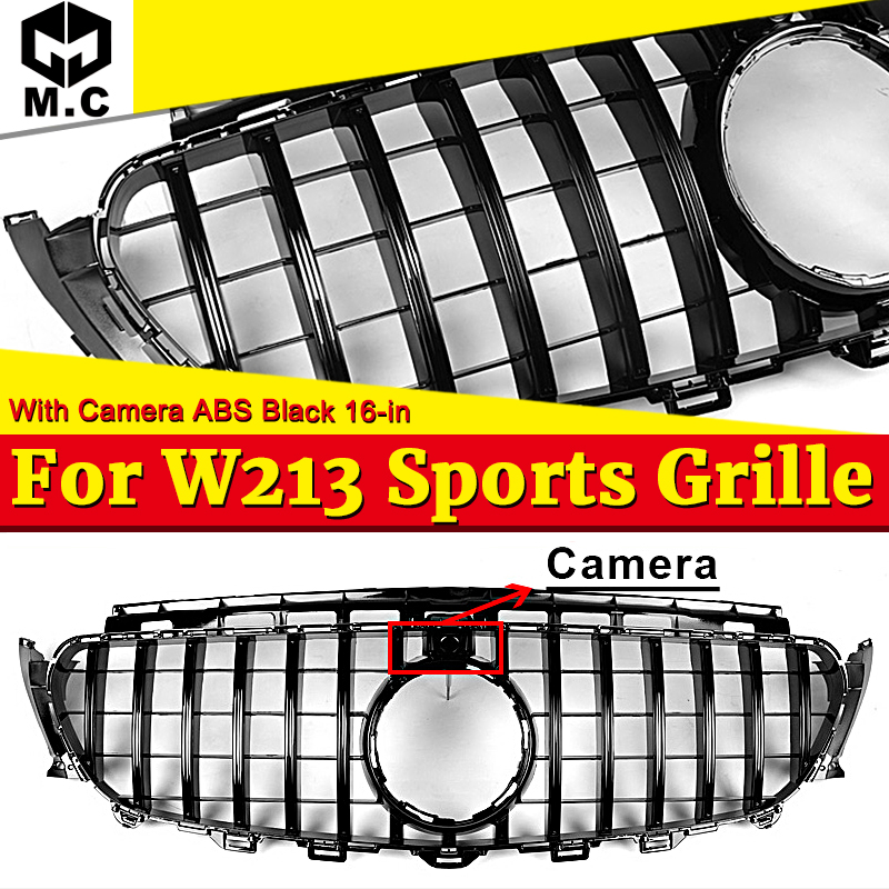 GT R Style Grille W213 Sport E63 Look ABS Black With camera Fit For MercedesMB E class E200 E250 E300 grills Without sign 16-in image