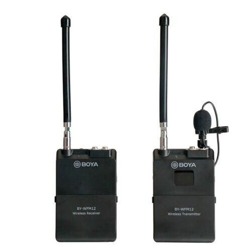 BOYA BY WFM12 12CH ไร้สาย VHF ไมโครโฟนไร้สายไมโครโฟนระบบตัวรับสัญญาณสำหรับกล้อง DSLR Canon Camcorder