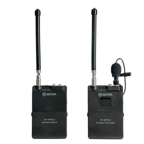 BOYA BY WFM12 12CH Wireless Audio VHF Microphone WIRELESS MICROPHONE SYSTEM TRANSMITTER RECEIVER for DSLR Camera Canon Camcorder