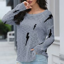 Women's Printed Sweater O-neck Knitted Jumper Female Long Sleeve Sweater Knitted Sweaters Pullovers Tops Striped Streetwear(China)