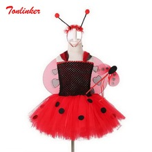 Girls Ladybug Costume Set Skirt+Magic wand+Headwear+Wing Girl Birthday Party Tutu Kids Outfit Ladybird Fancy Dress