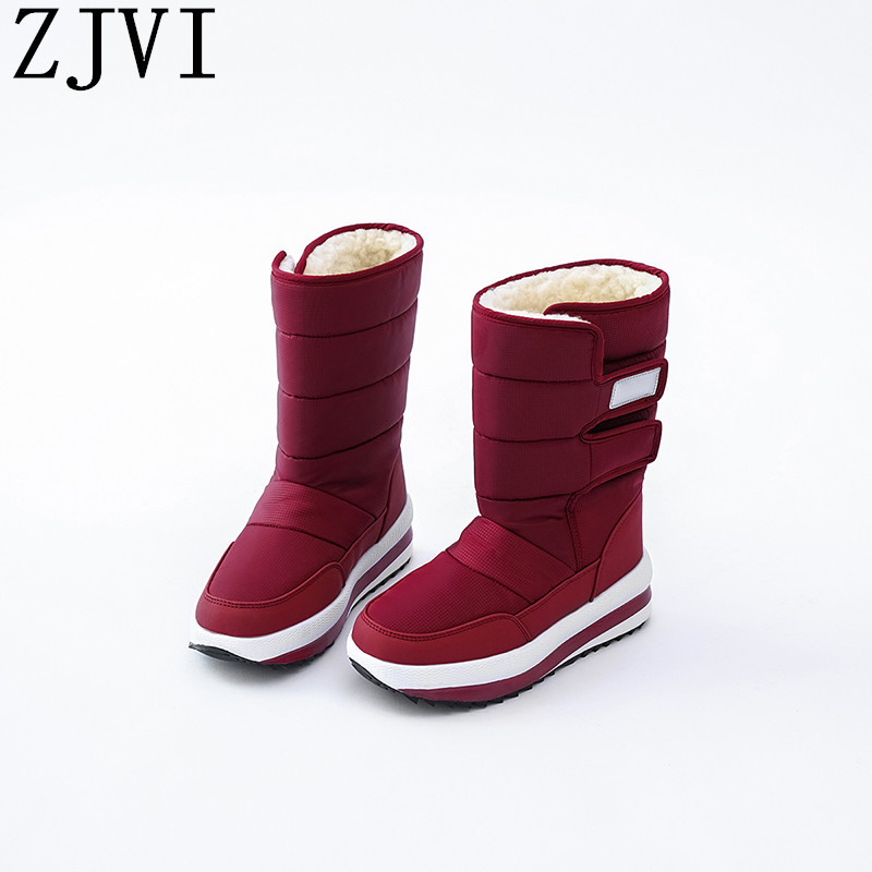 ZJVI women black red down Cotton winter mid calf snow boots flat platform woman ladies warm fur shoes for girls flats 2019 new