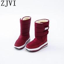 ZJVI women black red down Cotton winter mid calf snow boots flat platform woman ladies warm fur shoes for girls flats 2019 new