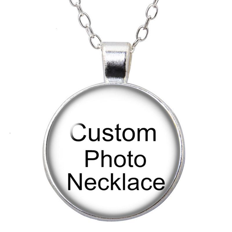 Персонализированный стеклянный кабошон с фото на заказ, посеребренный/Бронзовый/хрустальный кулон, цепочка, ожерелье, «сделай сам», ювелир...
