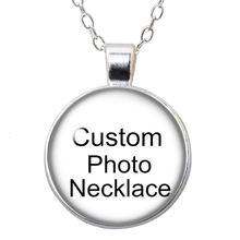 Personalizado foto personalizado vidro cabochão prata chapeado/bronze/pingente de cristal corrente colar diy jóias presente do miúdo das mulheres