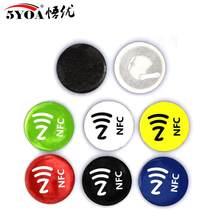 6 unids/lote NFC pegatinas etiquetas de Metal Ntag213 etiqueta adhesivo calcomanía metálica Universal etiqueta RFID para todos NFC de teléfonos