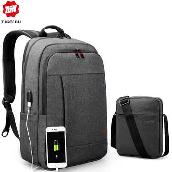 Tigernu Laptop Backpack Bag Set with USB Charging Messenger Men's Bag Splashproof Shoulder Bags 15.6 Mochila Male Travel Bags - DISCOUNT ITEM  46% OFF All Category
