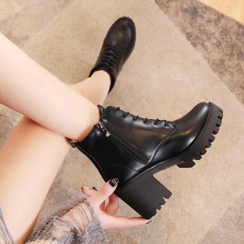 Bottes femmes chaussures femme mode talon haut à lacets bottines dames côté fermeture éclair plate-forme en cuir artificiel chaussures Bota Feminina