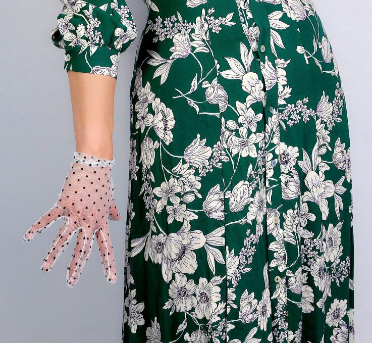 Women's Sexy Transparent Dot Print White Mesh Glove Female Summer Sunscreen Club Party Dancing Glove R2693