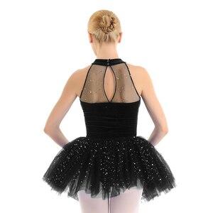 Image 2 - Mulheres vestido de ballet tutu bailarina Brilhante Lantejoula tutu de balé Vestido de Tutu de Balé De Dança Collant Sem Mangas Keyhole Voltar Corpete De Veludo