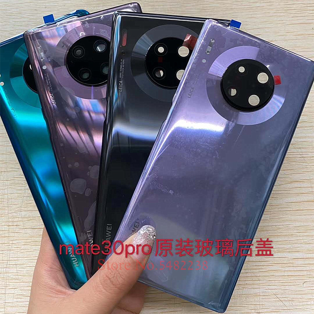 100% Original battery cover For Huawei Mate 30pro LIO-AN00 Rear Glass Housing door Back Cover case With camera lens Frame