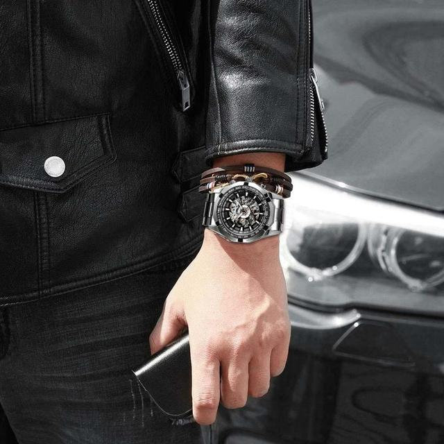 Forsining 2019 Stainless Steel Waterproof Mens Skeleton Watches Top Brand Luxury Transparent Mechanical Sport Male Wrist Watches 3
