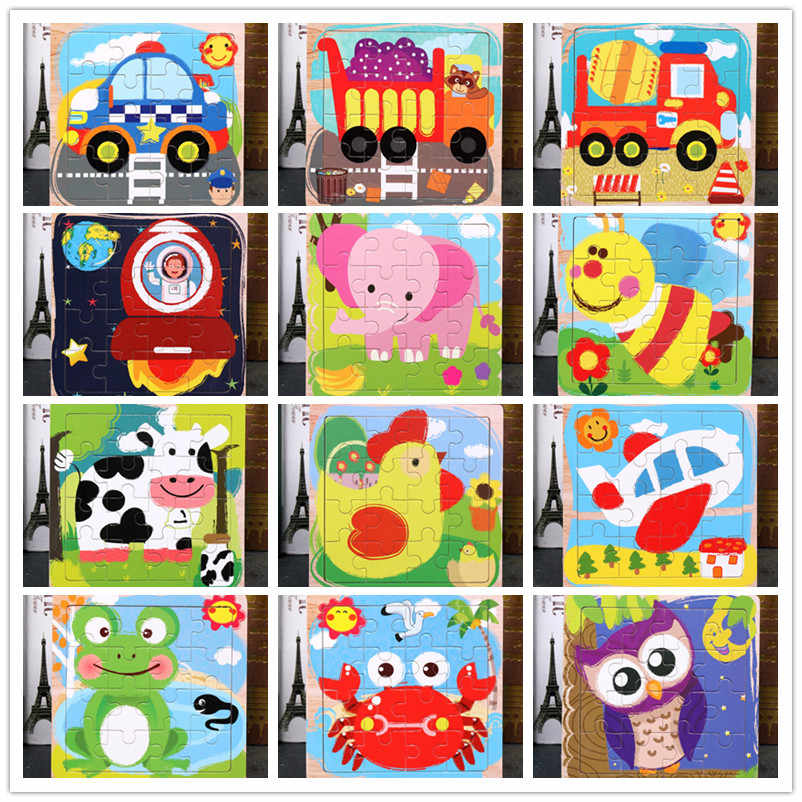 Baby Toys Montessori Wooden Puzzle / Sea Animal Puzzle Cartoon Anime Set Education Wooden Toy Cartoon Car / Children's Toys Gift