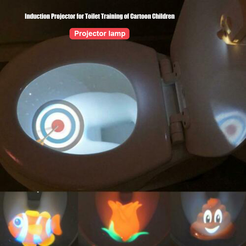 Toilet Night Light Motion-activated Sensor Bathroom Projector Led Lamp For Different Themes Child Toilet Training Light