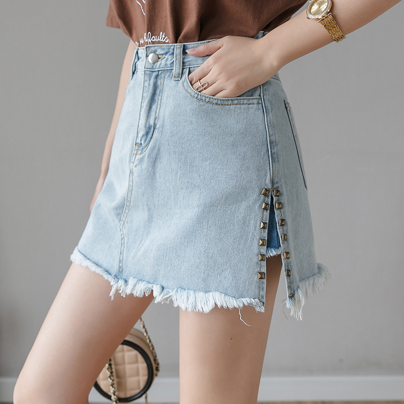 Vintage Fake Two Piece Shorts Women High Waist Jean Short Ripped Fashion Sexy Shorts Female Plus Size Rivet Denim Shorts Girls