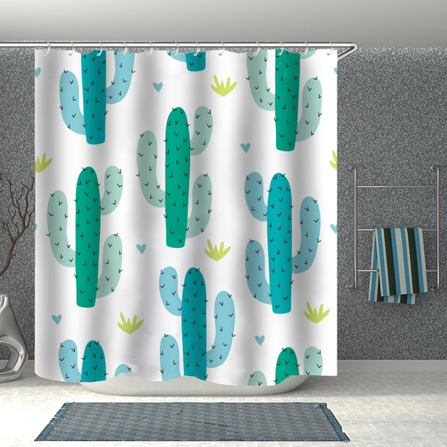Cactus Print Shower Curtain