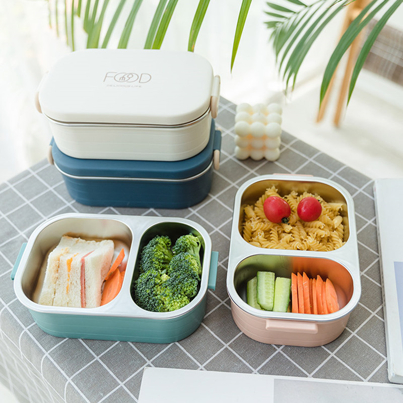 780ml Stainless Steel 304 Lunch Box Partition Leak-Proof Bento Box Student Kids Food Container Microwave Food Box