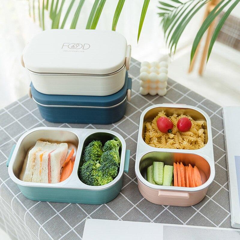 780ml paslanmaz çelik 304 yemek kabı bölme sızdırmaz Bento kutusu öğrenci çocuk yiyecekleri konteyner mikrodalga yiyecek kutusu