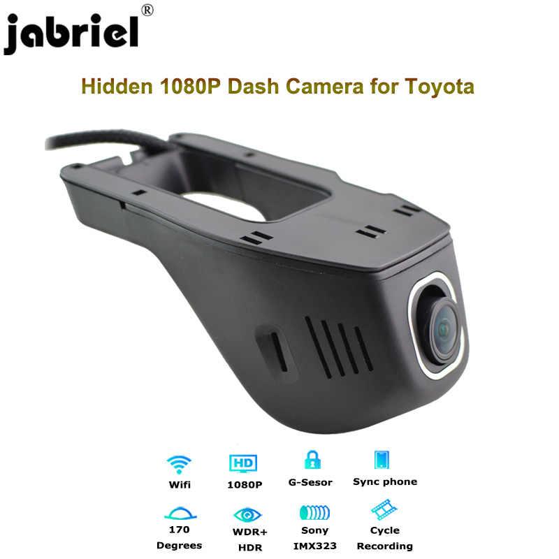 Jabriel 1080P داش كاميرا خفية كاميرا تعمل بالواي فاي للسيارة جهاز تسجيل فيديو رقمي للسيارات 24 ساعة مسجل كاميرا خلفية لتويوتا كورولا rav4 أفينسيس t25 ياريس chr