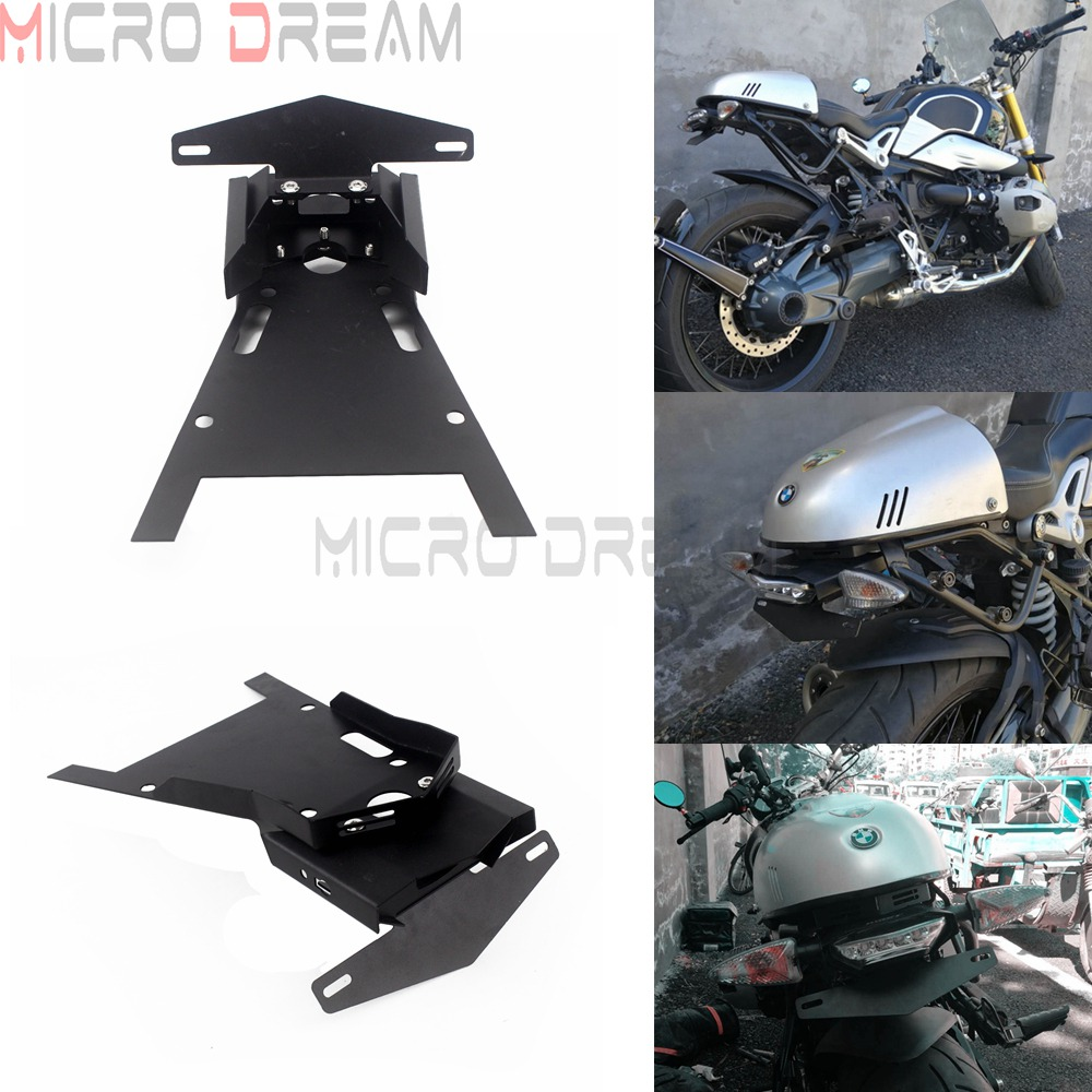 Stainless Steel Motorcycle Rear Mount License Plate Holder Bracket w/ Brake <font><b>Tail</b></font> <font><b>Light</b></font> Lamp for <font><b>BMW</b></font> <font><b>R</b></font> <font><b>NINE</b></font> <font><b>T</b></font> 2014-2016 2017 2018 image