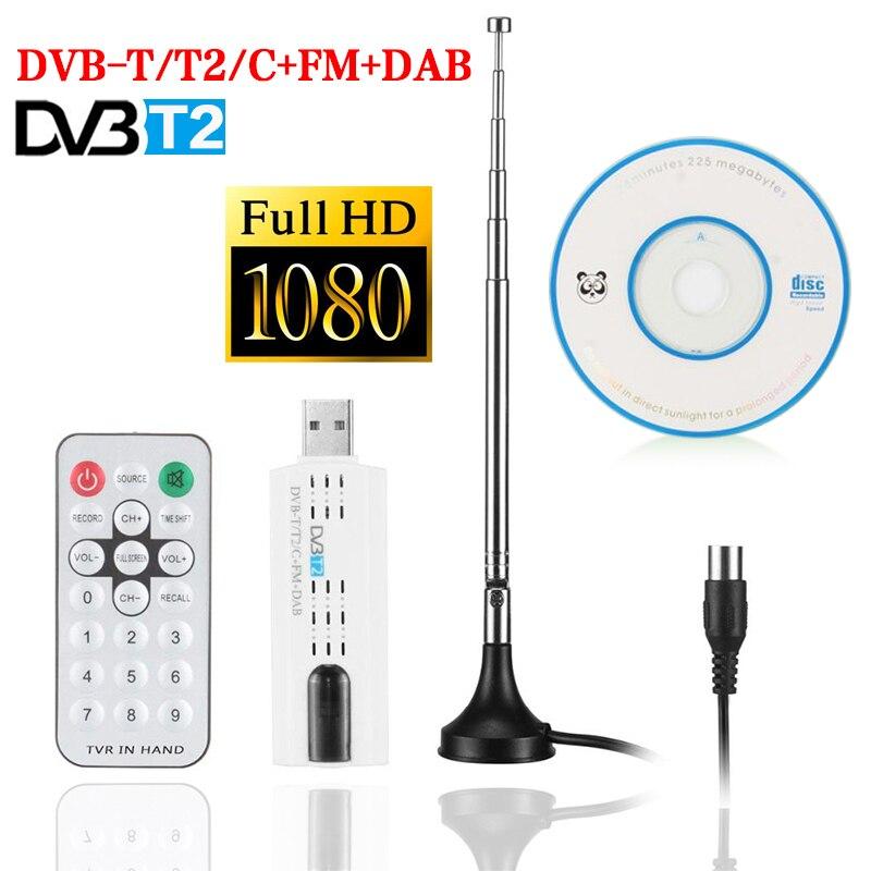 HD Digital Satellite USB 2,0 DVB T2 TV Stick Tuner mit Antenne Remote HD TV Receiver Für PC Laptop mit fernbedienung TV Stick