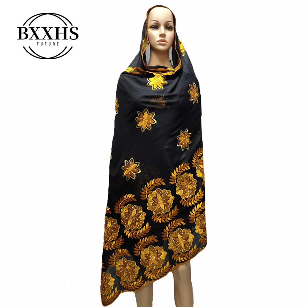 African Scarf, 2019 New Muslim Embroidered Women's Cotton Scarf, Beautiful And Economical,cotton Big Lady Scarf For Shawls