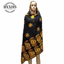 African scarf, 2019 new Muslim embroidered womens cotton beautiful and economical,cotton big lady scarf for shawls
