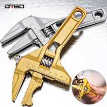 DTBD Multi-function Short Handle Universal Wrench Large Opening Bathroom Pipe Wrench  Adjustable Aluminum Alloy Repair Tool