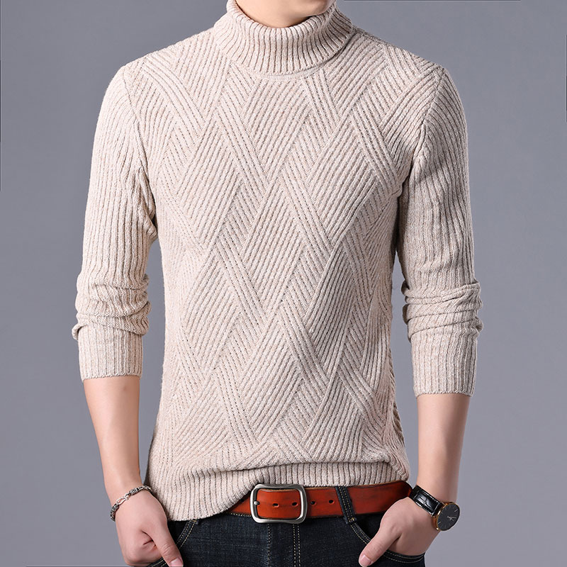 Turtleneck Sweater Men Nice Winter Thick Warm Sweatercoat Casual Slim Fit Cashmere Pullover Men Wool Knitted Sweaters Pull Homme