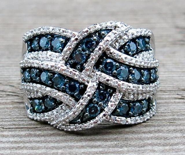 2019 New Bling CZ Zircon Stone S925 Sterling Silver Color Band Rings for Women Wedding Engagement Fashion Luxury Jewelry 5