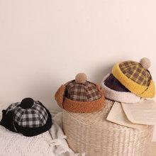 Новая детская шапка с защитой ушей зимние теплые шерстяные шапки