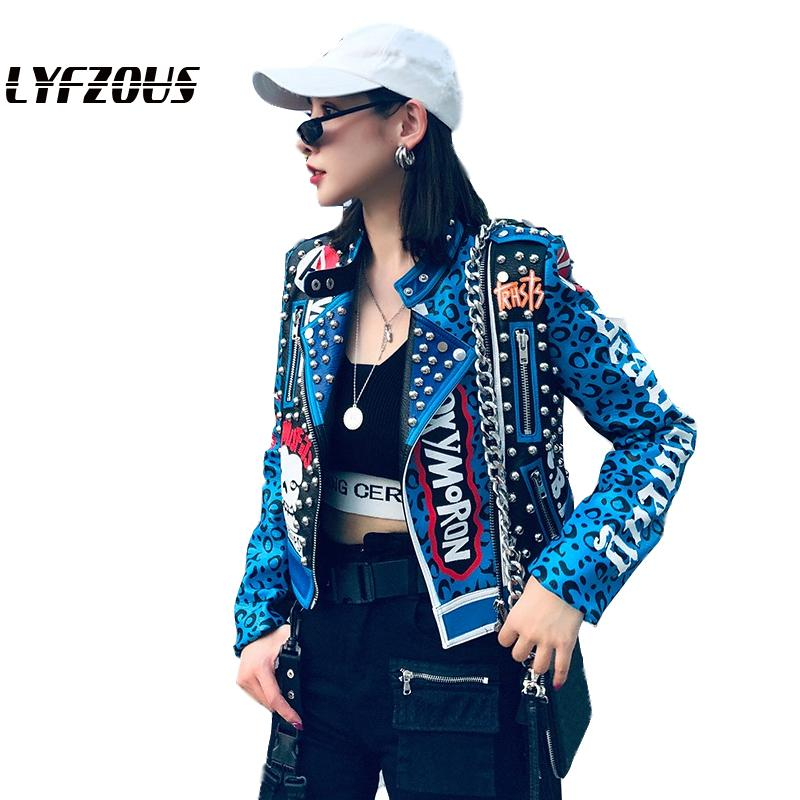 Fashion Rivets Leopard Women Pu Leather Jacket Gothic Style Streetwear Letter Print Short Bomber Jacket Motorcycle Leather Coat