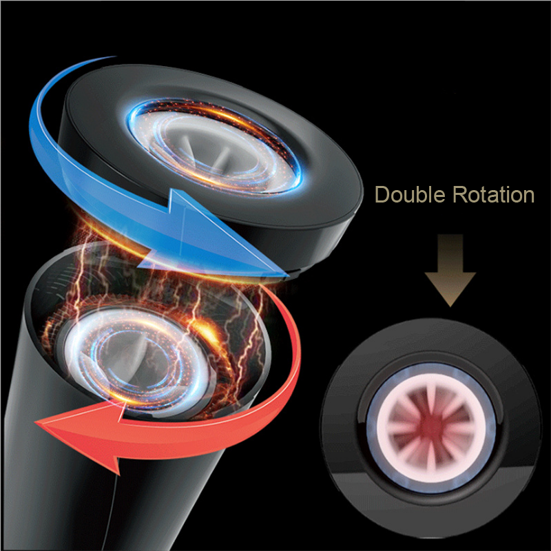 HESODA New Masturbation Cup Electric Double Rotation Up To 21 CM Multiple Mode Stimulation Sex Toys For Men Products For Adults